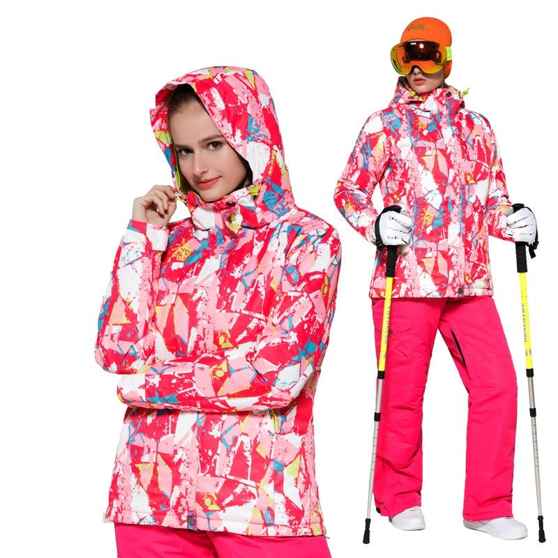 2018 hiver veste de neige femmes combinaison de Ski en plein air imperméable à l'eau femmes pantalon de neige coupe-vent snowboard veste de Ski de haute qualité