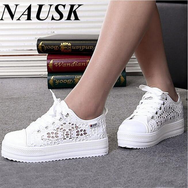 Casual Cutouts Lace Canvas Shoes Summer Women Shoes Hollow Floral Breathable Platform Flat Shoes White Black Color