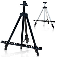 White Easel Aluminium Alloy Folding Blackboard Holder Frame Artist Adjustable Tripod Display Shelf With Bag Outdoors