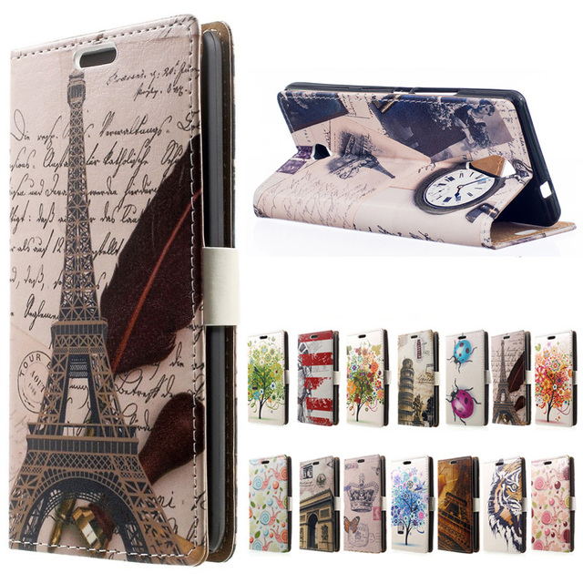 coque WIKO TOMMY case.Eiffel Tower & Clock PU Leather wallet flip with Stand cover case For funda WIKO TOMMY Mobile Phone cases