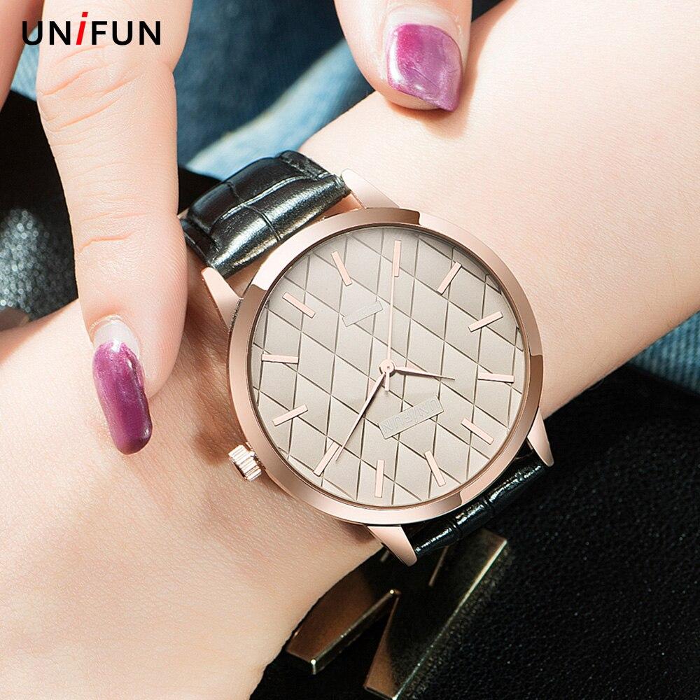 UNIFUN New Women Analog Dress Leather Strap Reloj Feminino Relogio Quartz Dress Simple Style Ladies Gift