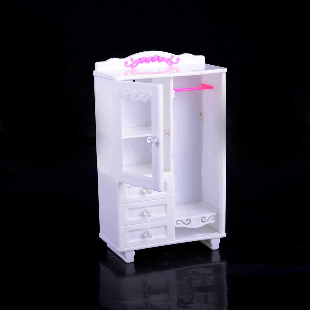 Armario ropero blanco y percha de plástico para casa de muñecas Barbie, accesorios de casa de muñecas, muebles de casa de muñecas, sala de estar, el mejor regalo para niños