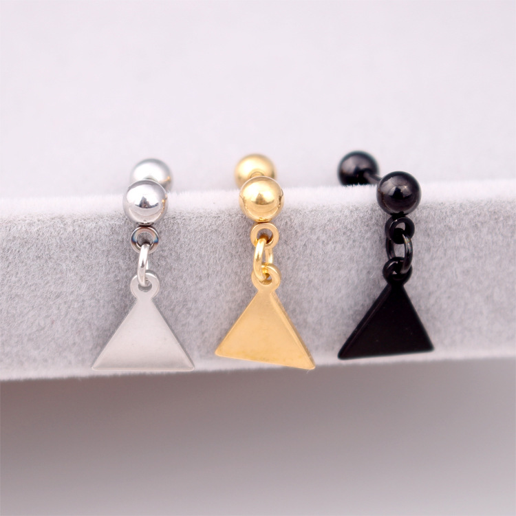 Fashion Women Men Punk Silver Gold Black Titanium Steel Round Ball Barbell Round Triangle Square Earrings Brincos Jewelry