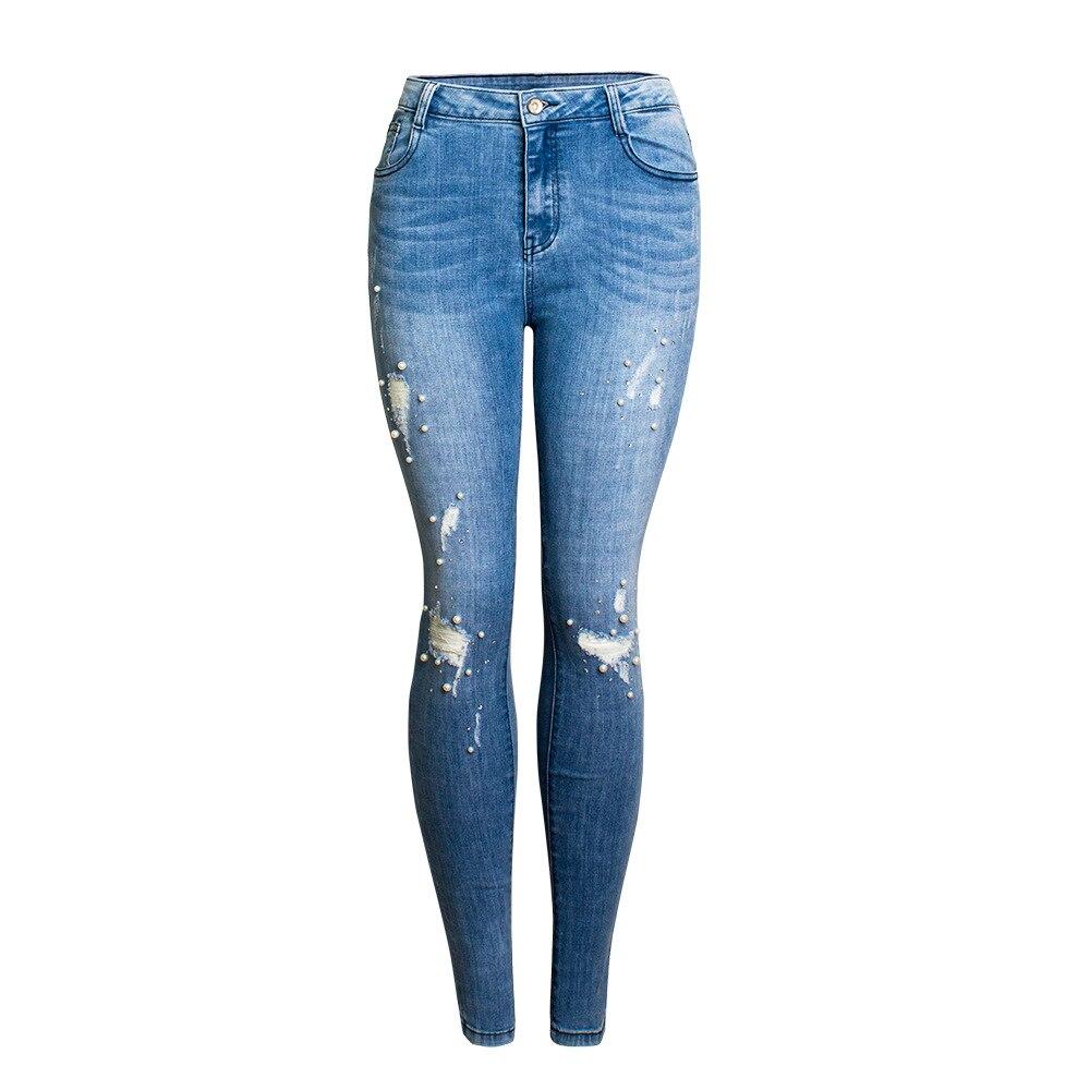 Femmes Jeans Détruit Déchiré perlés Denim Pantalon Skinny Jeans Pantalon Dames Femmes Denim Crayon Pantalon