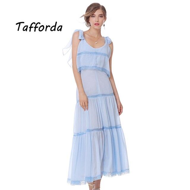 Tafforda verano nueva moda modelo de color azul claro gasa vestido ...