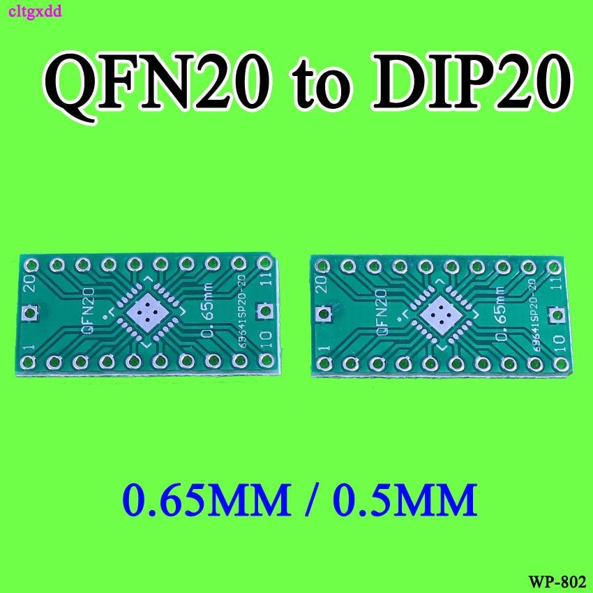 Cltgxdd 10pcs/lot QFN20 To DIP20 Adapter PIN Pitch 0.5 0.65mm PCB Board Converter LFCSP20 TO DIP Converter