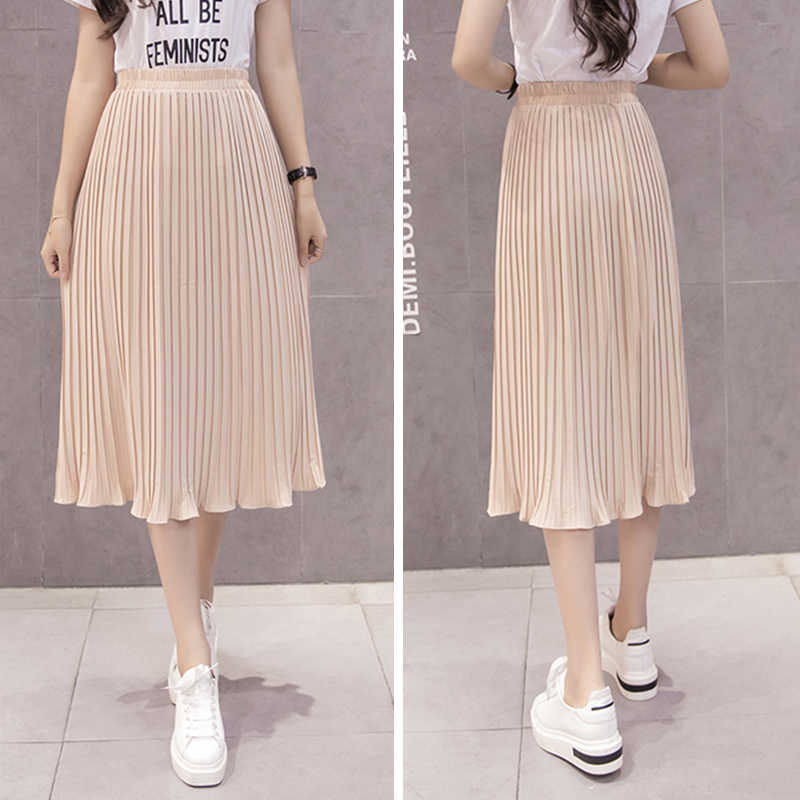 f3633cb95 ... Women Pleated Midi Skirt Chiffon Elastic High Waist Tutu Long Skirts  Female Summer Maxi Female Elegant