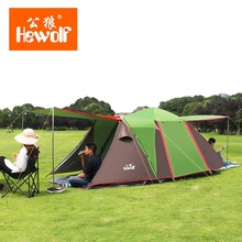 ФОТО hewolf 5-8 persons 4 doors big space full-automatic tent one bedroom two living rooms outdoor tent waterproof beach camping park