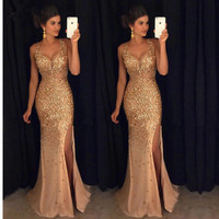 Sexy Prom Dress Gold Rinestone Beaded V Neck Mermaid Prom Dresses 2017 Backless Long Formal Evening