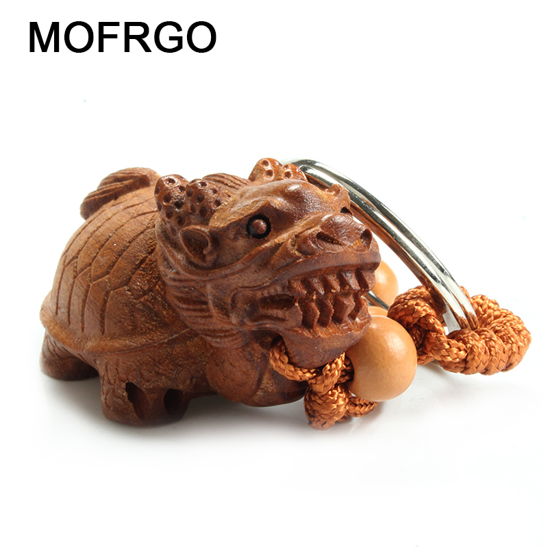 Chinese Traditional Ebony Hand Carving Chinas Mythical Creature Dragon Turtle Car Key Ring Keychain Trinket Amulet Pendant Bag