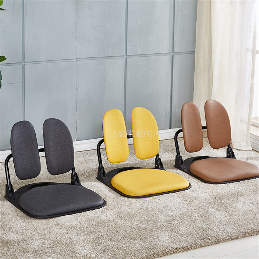 Floor Folding Living Room Chairs Single Soft Seat Sitting Backrest
