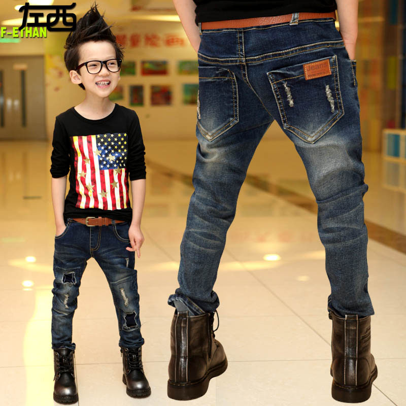 2015 autumn new in male child make old patchwork jeans pants child Korean Style long denim