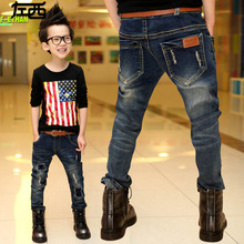 Осень в вилочная часть дети сделать старый пэчворк джинсы брюки дети корейский длинная деним trouseres
