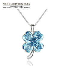 Neoglory MADE WITH SWAROVSKI ELEMENTS Crystal Charm Necklace Colorful Flower Style Alloy Plated Lady Elegant Sale Party Gift(China)