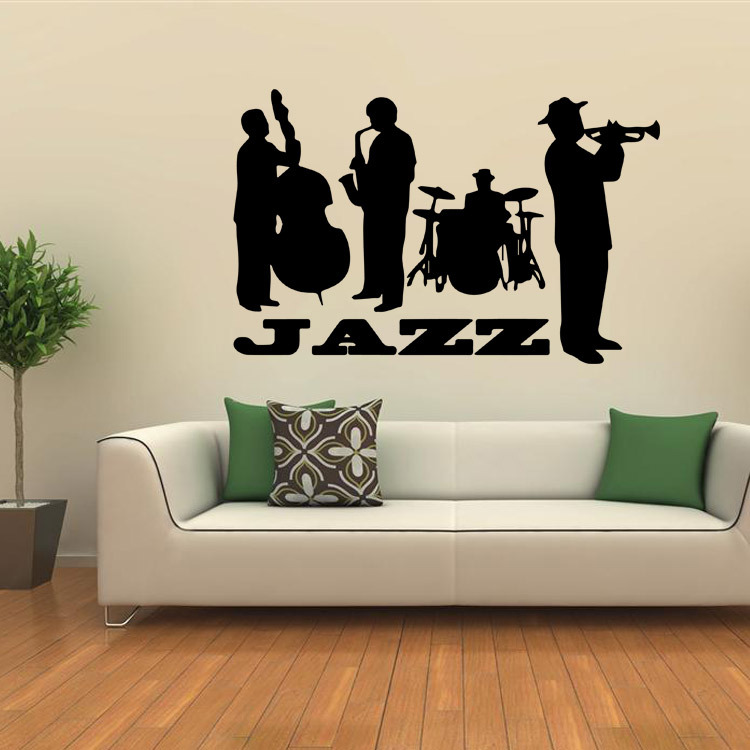 Black Jazz Pattern Wall Sticker Poster For Home Decorations Diy Removable Wall Decals For Living Room