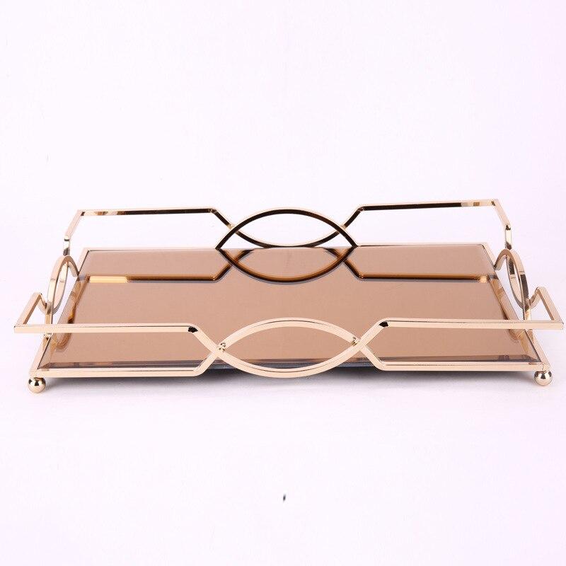 Plateau miroir en métal Simple et créatif | De haute qualité plateau rectangulaire modèle chambre hôtel salle de bain bureau plateau de rangement - 6