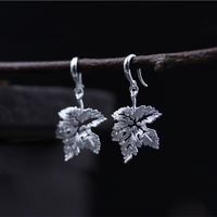 eca226ff4e9a 925 Sterling Silver Women Dangle Earrings Thai Silver Handmade Ethnic Plant  Vivid Leaves Earring For Women. 925 mujeres de plata esterlina pendientes  ...