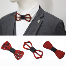 Wooden Bow Tie For Men Unisex Hollow Out Carved Retro Neck Adjustable Strap Vintage