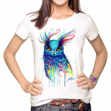 LUSLOS    Colored Drawing Owl Print Women  Cotton Hot Summer T Shirt   Causal  Super Soft O Neck Clothes Tops Short Sleeve bowknot owl print draw diamond drawing