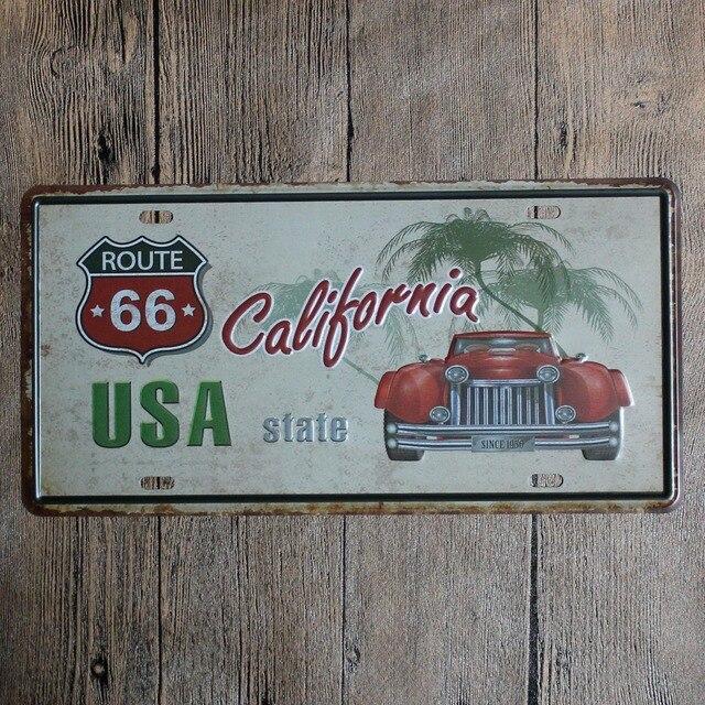 15*30 cm ruta California 66 decoración Tin signs metal Marcos de ...