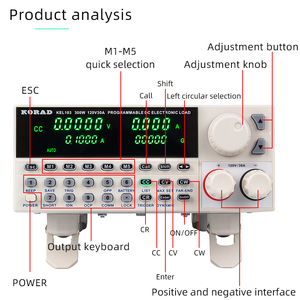 Image 2 - Korad KEL103 プログラミングデジタル制御の dc 電子負荷 300 ワットプロフェッショナル電気バッテリーテスター 120 v 30A