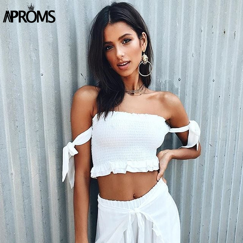 Aproms 90s Cool Girls Streetwear Elastic Crop Top Women Sexy Bow Ruffles Slim Female Camis 2019 Summer Solid Casual Tank Tops