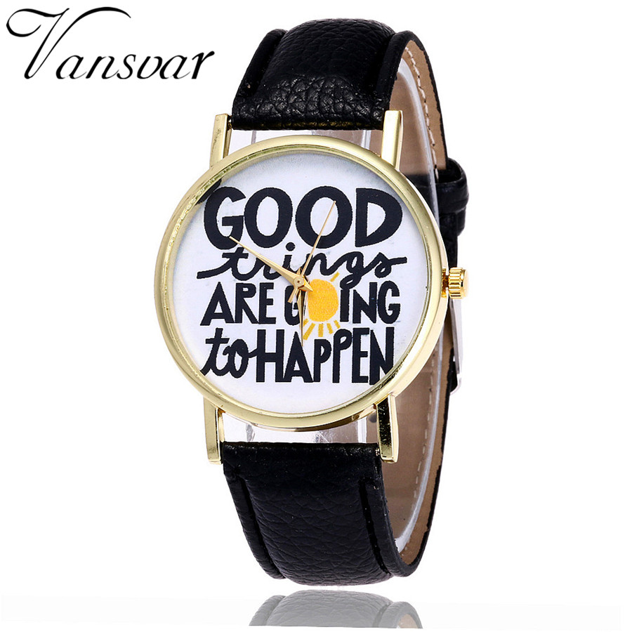 Vansvar Fashion Good Things are Going To Happen Watch Casual Women Quotes Wrist Watch Leather Quarzt Watch Relogio Feminino V29 things are disappearing here – poems