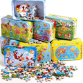 Baby Puzzle 60pcs/set 3d Wood Puzzle For Children Cartoon Wooden Toys IQ Puzzles Educational Toy Kids Game Iron Box Package