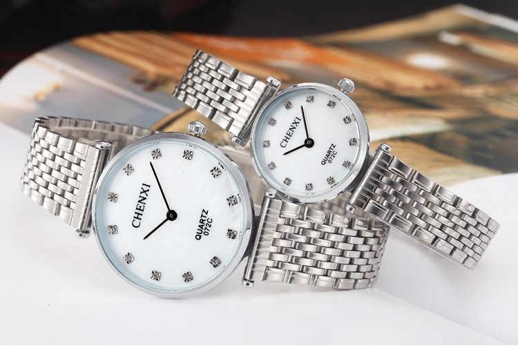 超薄型腕時計愛好家のラインストーン男性のステンレス鋼男性の女性のクォーツ腕時計女性男性テーブル