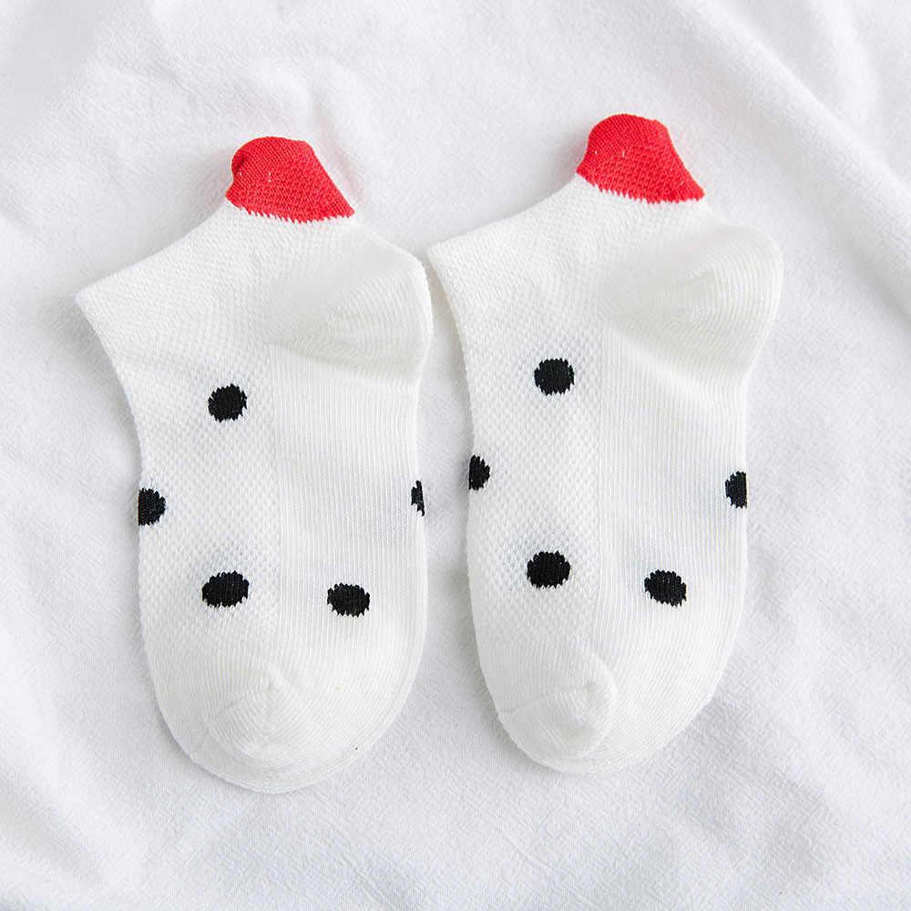 5Pairs New Arrivl Children Kids Cotton Socks Pink Cute Cat Ankle Socks Short Socks Casual Animal Ear Red Heart Gril Socks A3066