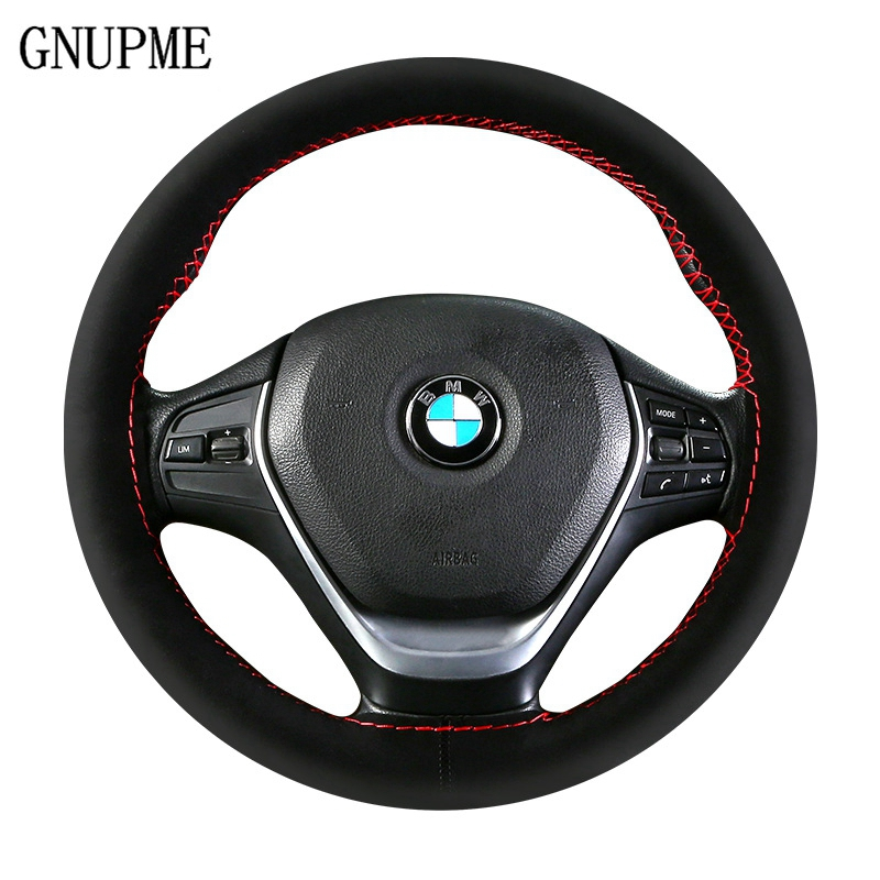 Anti-wear Auto Steering Wheel Cover DIY Suede Steering Wheel Car Anti-slip Breathable Soft Steering Covers 36cm 38cm 40cm perforated breathable skidproof steering wheel cover diameter 36cm 38cm 40cm fiber leather handlebar braid car covers