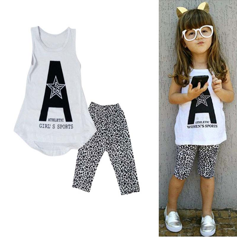 Girls Summer Casual Clothes Set Children Print Star Vest Leopard Pants Girl Suits 2016 Girl Clothing Sets for Kids j2 girls in pants third summer