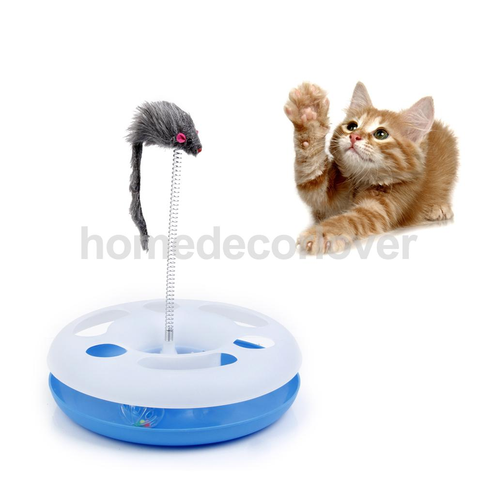 Pet Kitten Cat Toy Circuit Tracking Spring Plush Mice Mouse Activity Training
