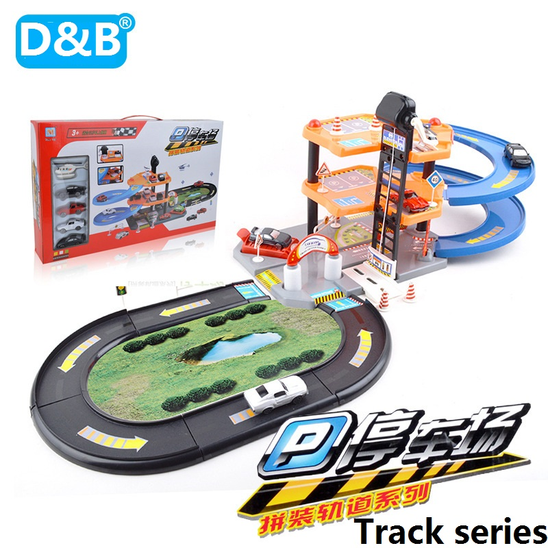 Model Building Kits Three layer DIY Slot Model toy simulation parking lot model toy cars For Kids Children's gifts Free Shipping