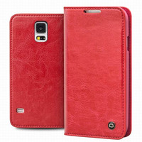 QIALINO Luxury Real Genuine Leather Case For Samsung Galaxy S5 I9600 Case For Samsung Galaxy S5