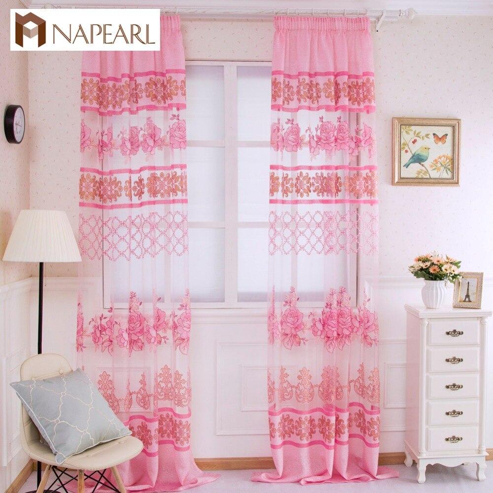 Tulle Curtain Purple Floral Transparent Sheer Fabrics Window Treatments Short Curtains Bedroom