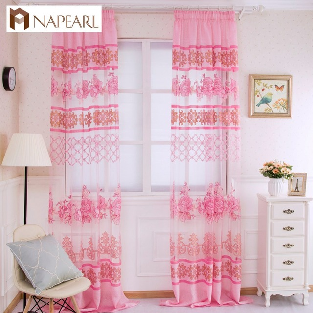 Tulle Curtain Purple Fl Transpa Sheer Fabrics Window Treatments Short Curtains Bedroom Modern Organza Kid Room Pink