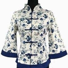 Высокая мода синий винтажный женский пиджак льняное пальто цветок Китайская традиционная Тан костюм оверсайз s m L XL XXL XXXL 4XL 5XL 2218