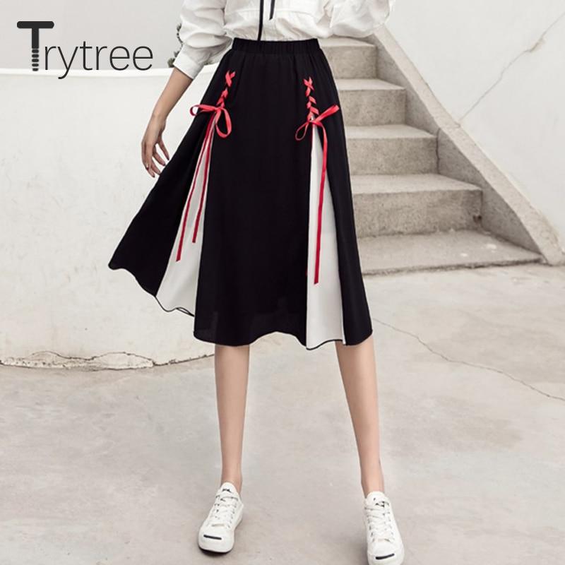 Ttytree Summer Autumn Womens Skirt A-Line Knee-Length Elastic Waist Patchwork Skirts Female Criss-Cross Ribbon Bow Fashion Skirt