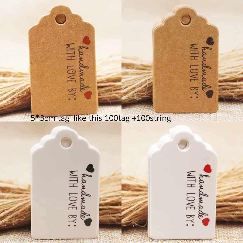 5x3 cm Kraft/blanco DIy Red heart Handmde etiqueta regalo etiqueta tarjeta gracias etiqueta caramelo /etiqueta de marca de boda 200 piezas por lote