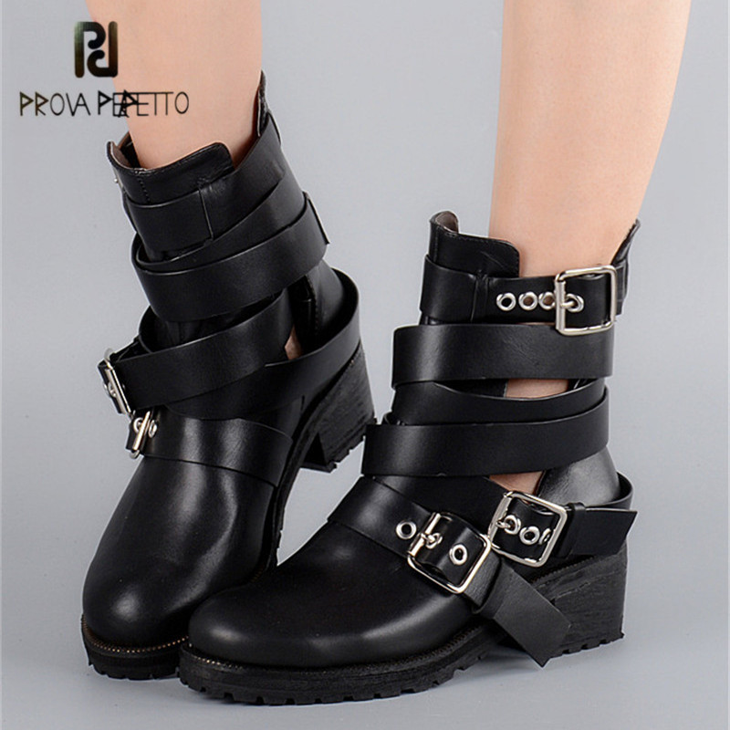 Prova Perfetto Black Ankle Boots for Women Straps Buckle Hollow Out Autumn Flat Boots Platform Short Booties Female Rubber Shoes prova perfetto black handmade women genuine leather mid calf boots buckle straps martin boots women platform rubber shoes woman