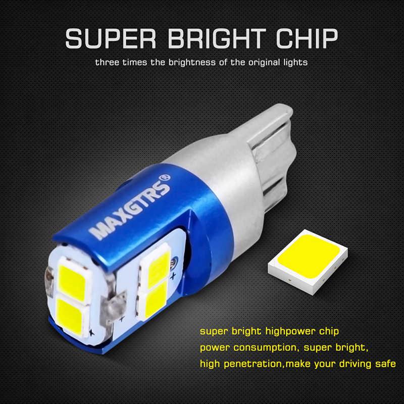 2Pcs W5W 3030 SMD Mobil T10 LED 194 168 Baji Penggantian Reverse Panel Instrumen Lampu Putih Biru Lampu untuk clearance Lampu