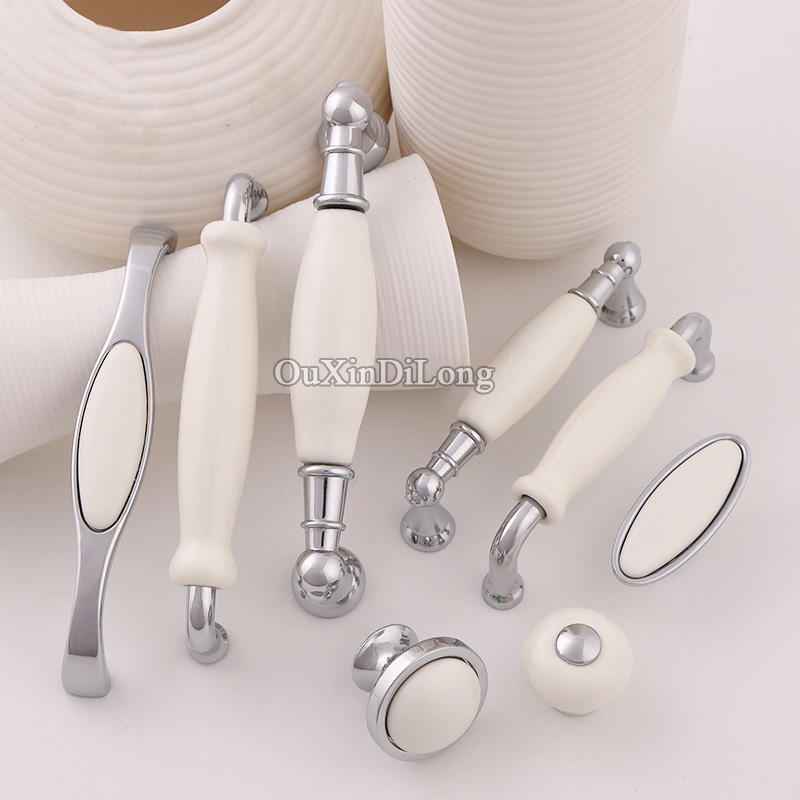 Luxury 10PCS European Rural Ceramic Kitchen Door Furniture Handle Cupboard Drawer Wardrobe Wine Cabinet Pulls Handles and Knobs