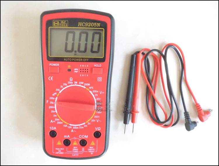 Black Red 200mV-750V AC Voltage Ohm Resistance Digital Multimeter w 2 Test Lead HC9205N utl16 multimeter test lead cable red black 2 pcs
