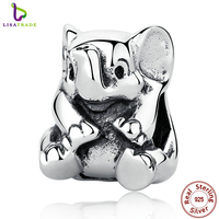 Authentic 925 Sterling Silver Lovely Lucky Elephant Pendant Baby Charms Beads Jewelry Makings DIY Accessories PAS371