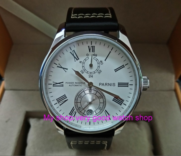 цена на PARNIS 43mm white dial Automatic Self-Wind movement power reserve men's watch Mechanical watches wholesale 155a
