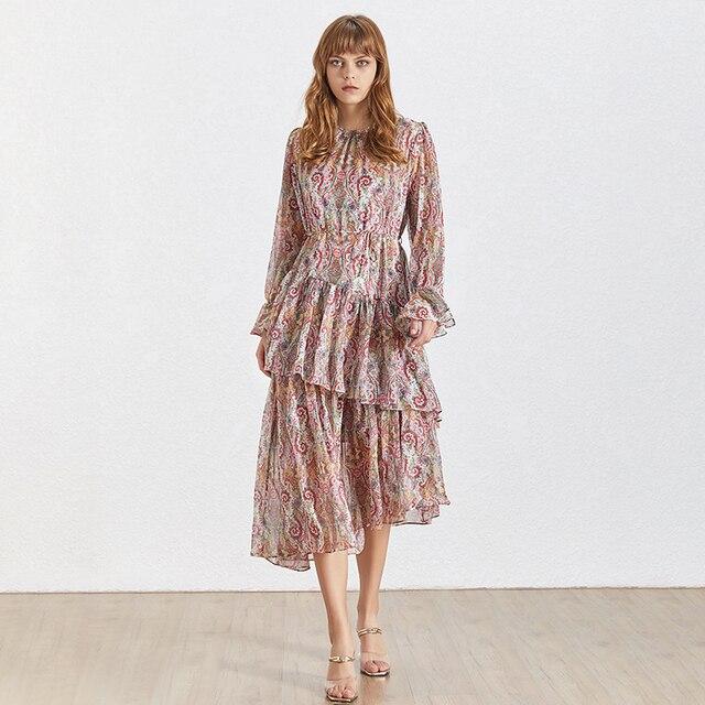 Vintage Print Dress Women O...