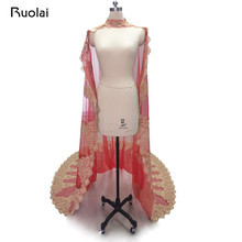 Здесь можно купить   Vintage Lace Bolero Tulle Gold Applique Long Wedding Cape Romantic Custom Made Bridal Cloak Women Wedding Jackets FJ24 Wedding Accessories