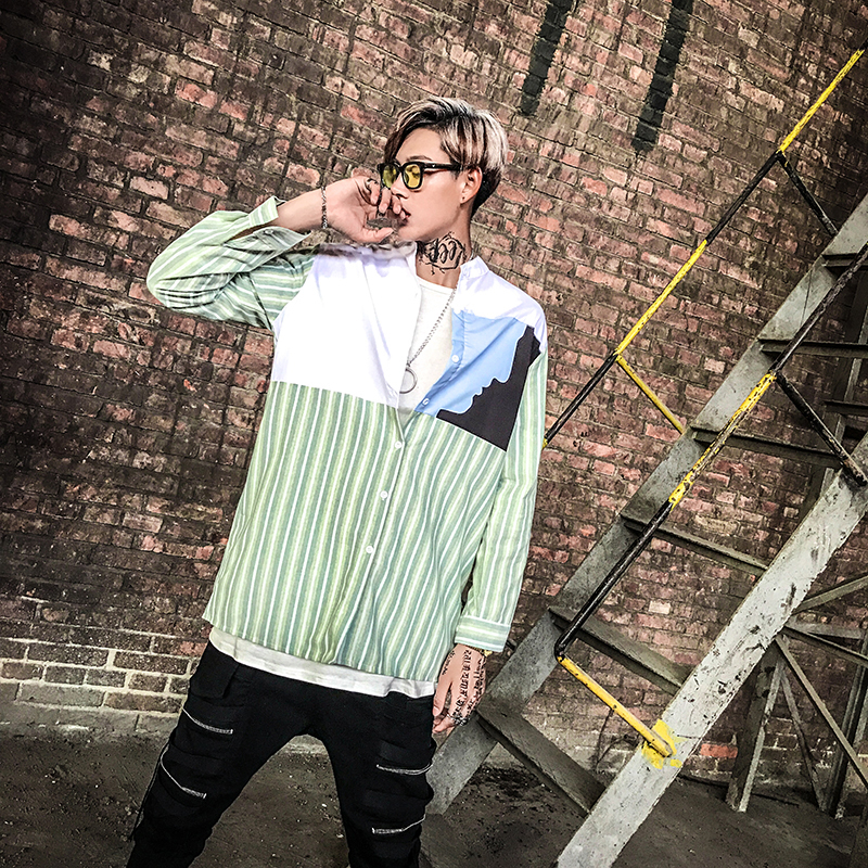 B2018 Spring Ulletproof Young Kim Tae-hang And Striped Shirt With Long Sleeves And Long Sleeves Fashion Free Shipping