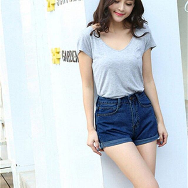 ed9c1508007a 2018 Nouveautés Taille Haute Short En Jean Femme Solide Couleur Court Jeans  pour Femmes D